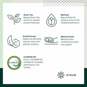 1Zinus 12-Inch Green Tea Memory Foam Materials